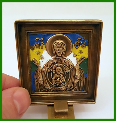 Russian orthodox bronze icon icon The Virgin of Sign . Enameled.