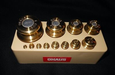 Ohaus 12 piece Vintage Sto-A-Weigh Calibration 1g - 500 GR  Weight Set