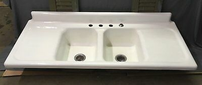 Vtg Cast Iron Porcelain Double Drainboard  Basin Farmhouse Kitchen Sink 789-17E