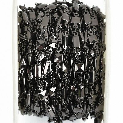 3ft GUNMETAL Black Rectangle Square Bead Chain, Brass Cable Link, 4mm, fch0824a