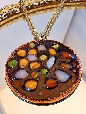 Vintage Modern Mid Century LG Enameled Copper Multi Color Pendant Smalley