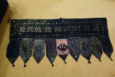 Indian indigo dyed over-door hanging, embroidery, mirrors