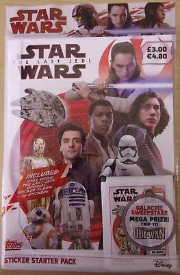 Star Wars The Last Jedi ~ Topps Sticker Collection Starter Pack Inc 30 Stickers
