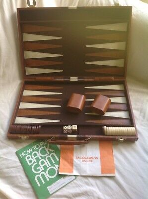 VINTAGE BACKGAMMON DELUXE SET faux leather RETRO game case BROWN board strategy