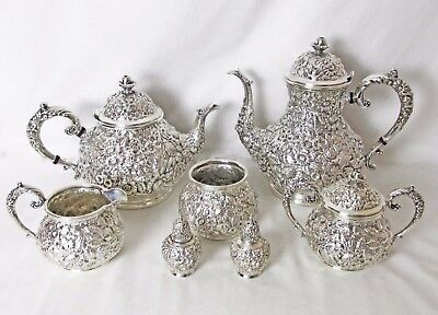 Silver Plated Repousse 7 Pc Tea & Coffee Set 1900 - 1910 Rare & Outstanding