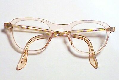 Excellent Vintage Bausch & Lomb 6 4826 Safety Glasses Coral Peach Horn Rim $1Nr