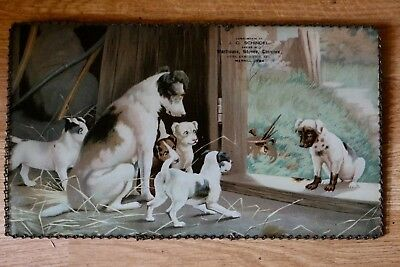 Incredible Sad Dog Glass Advertising Chain Picture Merril Iowa General Store