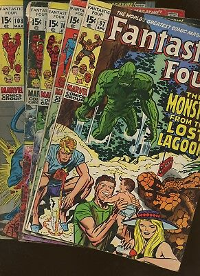 Fantastic Four 97,98,100,106,108 ~ 5 Book Lot * Stan Lee & Jack Kirby!