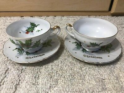 Lot of 2 NORCREST CHINA TEA CUP AND SAUCERS TEACUPS MERRY CHRISTMAS HOLLY