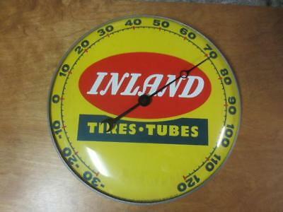 """RARE 1957 INLAND TIRES & TUBES - THERMOMETER - PAM CLOCK Co. - Round Glass 12"""""""