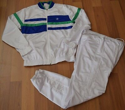 VTG 80's Jimmy Connors Slazenger White & Blue Poly Warmup Jacket Pants Suit~M