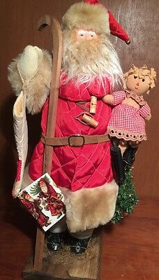 """Woodland Santa Figure Doll Wood Base Red Quilted Coat Collectible Skates 19"""""""