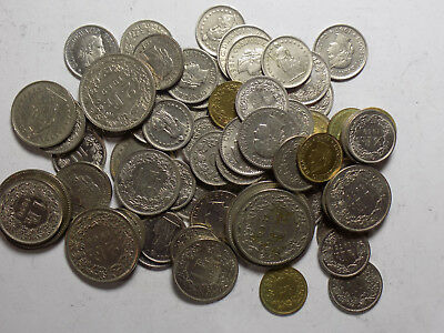 Switzerland - assorted coins, 32 Francs Total Value