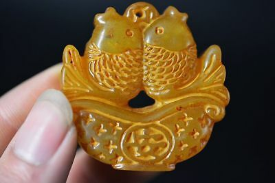 Beautiful Chinese Old jade Hand-Carved *Two Fish* Lucky pendant