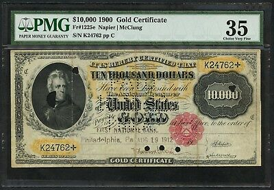 FR1225e $10,000 1900 GOLD NOTE NAPIER-MCCLUNG PMG 35 CHOICE VF 12 KNOWN WLM4870