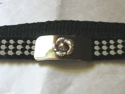 """2708 Scaled Black and White Stretch Belt, M, 28-39"""" Long"""