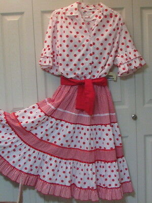 1891 Carefree Fashions White with Red Dots & Gingham Outfit & Sash, S