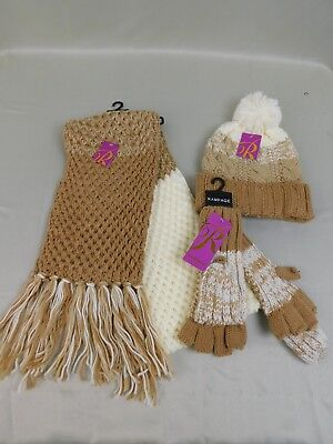 Rampage Cold Weather Gift Set - Knit Scarf Beanie Hat Mitten Gloves Beige #C262