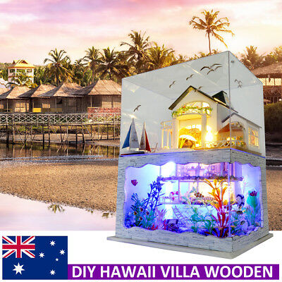 AU DIY Miniature Wooden Hawaii Villa Dollhouse Kit LED Light Doll house Gift