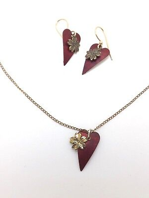 Silver Forest Red Heart Flower Gold tone Necklace Earrings Set 14K Gold Plate