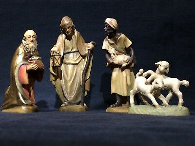 Lot of 4 Anri Italy Wood Carved Nativity Figures Shepard Sheep Wiseman Joseph