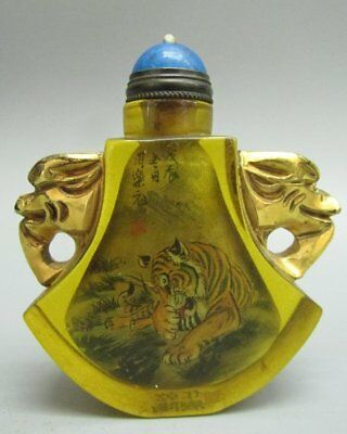 Chinese Hand Inside-drawing Tiger Glass Snuff Bottle-Gold-plated Dragon