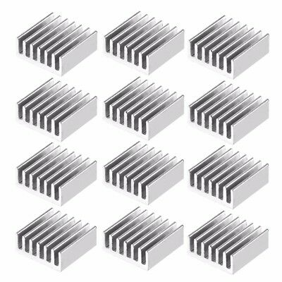 12pcs 14x14x6mm Aluminum Mini Silver Anodized Heatsink Cooler Cooling Kit