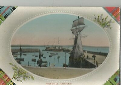 Kirkwall Harbour  Orkney Scotland  Old Colour  Postcard Shows Ships Others On