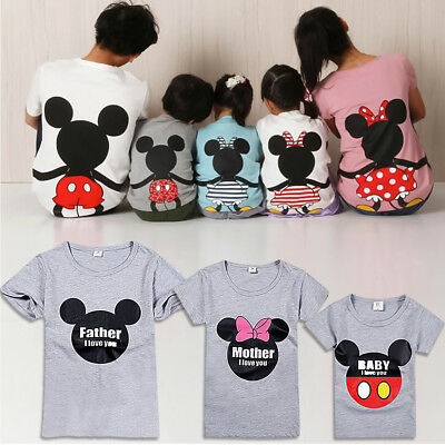 Mickey Minnie Mouse Family Love Matching T-Shirt Mom Dad Kid Baby Top Tee Shirt