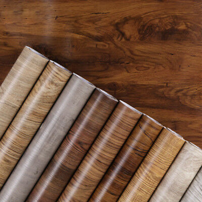 1M PVC Waterproof Self adhesive Wallpaper Furniture Cabinet Wood Grain Sticker