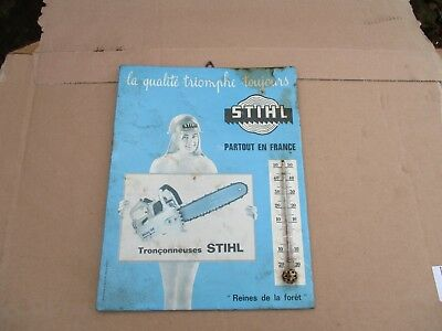 Original Vintage Stihl Chainsaw Shop/Dealer Sign With Working Thermometer