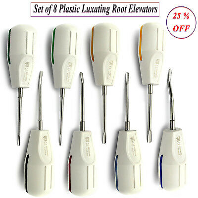Set Of 8 White Plastic Luxating Elevators Teeth Extraction Tooth Loosening Kit
