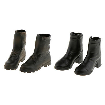 2 Pairs 1/6 Female Ankle Boots Shoes for 12 inch Action Figure Phicen Kumik