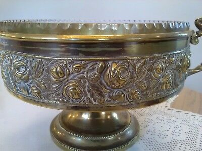 Antique Solid Brass Footed Beldray Fruit Server with Glass Insert Rose Embossed