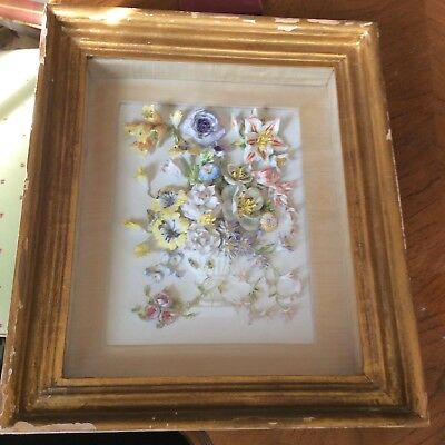 Antique Hand Painted Porcelain Plaque Applied Flowers Shadow box Frame Japanese