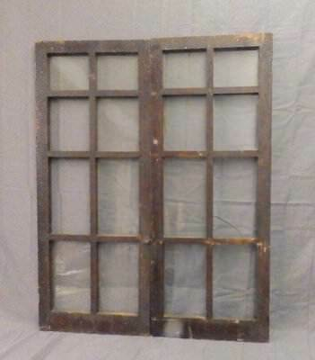 Pair Antique French Door Casement Windows Cupboard 8 Lite Bookcase 36X15 576-17P