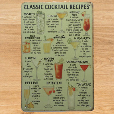 Classic Cocktail Recipes Poster