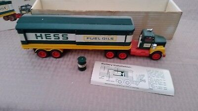 Vintage 1976 Hess Tractor Trailer Truck with Oil Barrel and Box