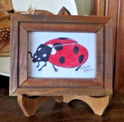 """Original Ink Drawing of Lady Bug - 3 1/2"""" x 4 1/2"""" - Includes 4 1/2"""" Easel"""