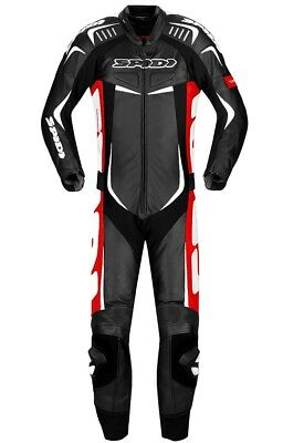 Spidi Track Wind Pro Motorcycle Leather Racing Waterproof Suit - Black/Red/White