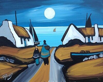 """Irish Art - Original Painting """"white-Washed Moon""""  By Jp Rooney.  Collectable."""