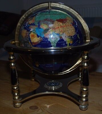 "Lovely 15x14"" Lapis Lazuli Globe & Compass With Gold Metal Stand Good Condition"