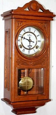 Vintage Running Carved Wood Regulator Wall Clock W/ Beveled Glass & Side Windows