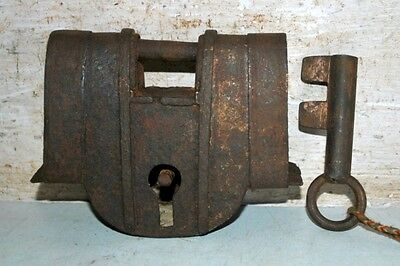 Antique Old Indian Iron Padlock With key Rare Collectible Hand Carved Lock & Key
