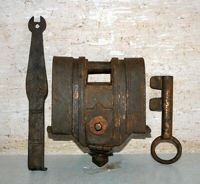 Antique Old Indian Iron Hand Carved Padlock With 2 keys Rare Lock & Keys 1800's