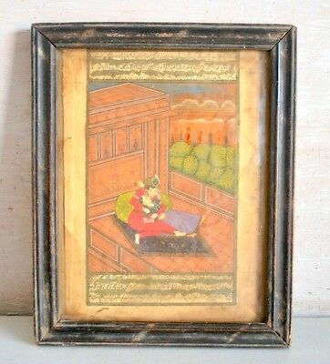 Antique Miniature Painting Of Mughal King Queen Romance Islamic Urdu Calligraphy