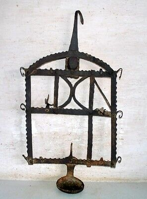 Antique Old Iron Hand Forged Indian Tribal House Hanging Oil Lamp 1800's