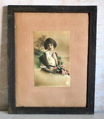 Old Vintage Collectible English Girl Lady Colorful Rare Framed Postcard