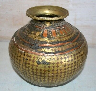 Old Antique India Copper Brass Rare Ganga Jamna Holy Water Decorative Pot 1800's
