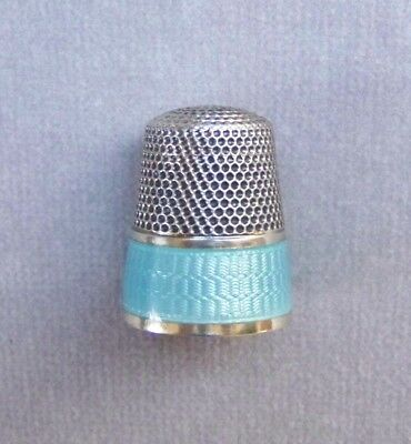 Antique Sterling Silver Blue Guilloche Enamel Thimble Waite-Thresher   Size 10